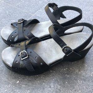 Dansko Black Leather Wedge Heel Slingback Sandals